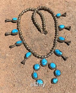 Vtg Navajo Montagne Sterling Silver Blue Gem Turquoise Squash Blossom Collier
