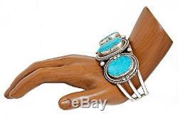 Vtg Navajo Old Pawn Grand Turquoise Kingman Naturel. Manchette À La Main En Argent 925