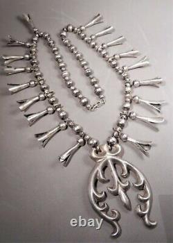 Vtg Navajo Sterling Silver Squash Collier De Squash, Sand Cast Naja, 18 Blossoms
