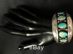 Vtg Old Pawn Navajo En Argent Sterling Cluster Spiderweb Turquoise Bracelet 99