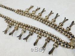 Vtg Pion Navajo En Argent Sterling Turquoise Squash Blossom Banc Collier En Perles 26