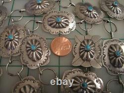 Vtg Signé Estampillé Argent Sterling Turquoise Concho Ceinture Navajo 40 Long 70g