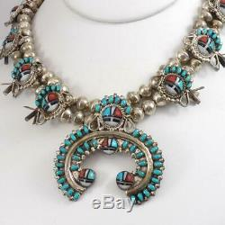 Vtg Squash Sterling Silver Blossom Zuni Sunface Collier Turquoise À 28 Lfl4