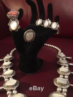 Vtg Ss Mère Navajo Pearl Squash Blossom Collier + 2 Anneaux + Bracelet +++++