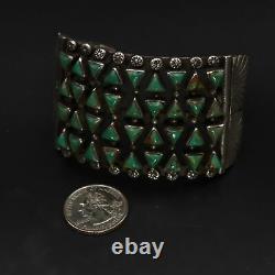 Vtg Sterling Silver Navajo Turquoise Cluster Stamped 7.5 Bracelet Manchette 104g
