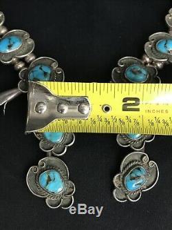 Vtg Vieux Pawn Navajo Squash Blossom Turquoise Collier En Argent Sterling 75g