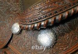 Western Show Saddle Vintage Broken Horn Avec Sterling Silver New Lower Price