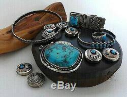 X6 Lot Vintage Indien Navajo Sterling Turquoise Bague Pendentif Bracelet