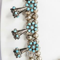 Zuni Vintage Argent Sterling Et Turquoise Serpent Squash Eye Collier Fleur